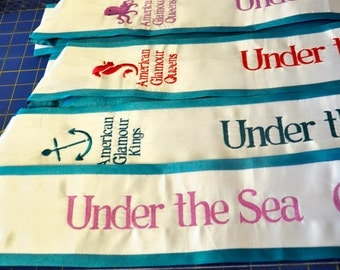 Embroidered Beauty Pageant Sash with different clip arts