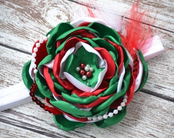Child Holiday Flower Headband, Christmas Headband
