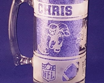 Personalized Sandblast Etched 28 oz Football Glass Beer Mug/Super Bowl Mugs/Man Cave/Etched Gift