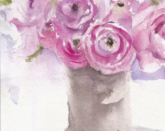 watercolor pink ranunculus flowers