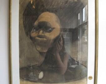 Original Vintage Charcoal signed and framed Portrait