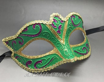 New Women Venetian Green Masquerade Mardi Gras Costume Party Mask