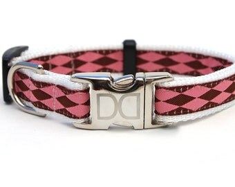 Harlequin Pink Dog Collar and Leash