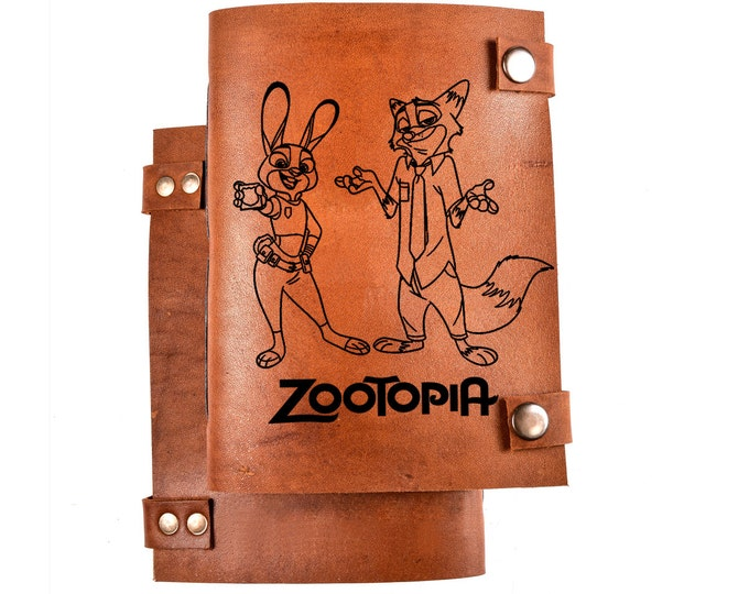 Zootopia sketchbook - Zootropolis notebook - leather notebook - walt disney pictures - Nick Wilde - Judy Hopps - leather diary