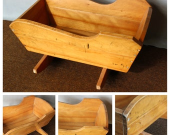 M4282 Hand Made Maple Wood Doll Cradle from 1950's