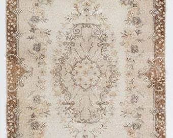 Patchwork Rug In Washed Out Neutral Colors Handmade From