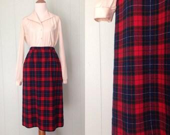 1970s Pendleton Skirt   70s Red Plaid Wool Skirt   Vintage Authentic Mason Tartan