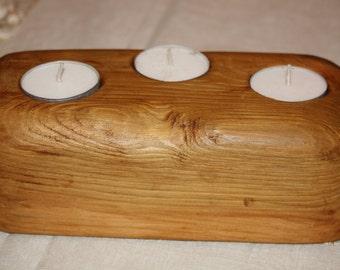 Triple Tealight holder - reclaimed wood
