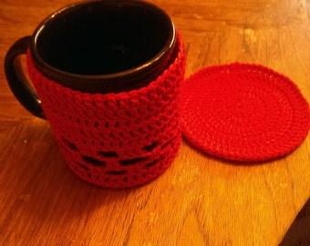 Coffee mug cozy and crochet coster