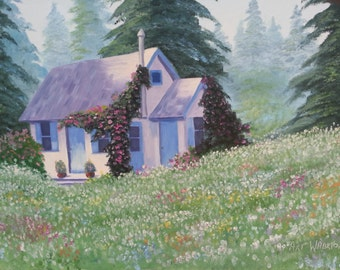 """Oil Painting, """"Little Cottage in the Meadow,"""" Size 18 in. x 24 in."""