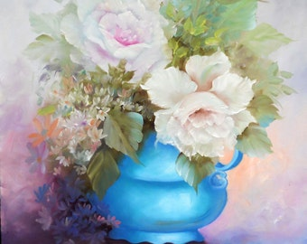 """Original Impressionistic Oil Painting """"White Roses in a Blue Urn"""", Size 20 in. 24 in."""