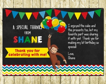 Curious George Printed Chalkboard Thank You Cards