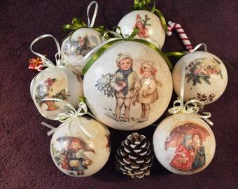 Christmas ornaments set, Xmas ball set/family, Decoupage unique present/gift, Lovely Christmas decoupaged ball, Tree balls,Handmade ball set