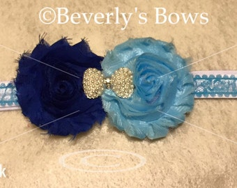 Handmade, blue, shabby, flower, headband