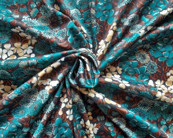 Retro Polyester Dress Fabric -  1970's - Teal and caramel flowers on a navy background - 1 piece - Unused