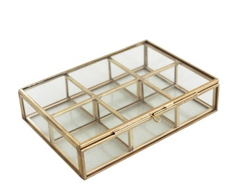 Sierra Brass Glass Display Box with 6 Compartments