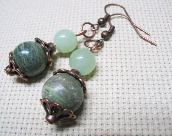 Boho Earrings-Green Jasper Earrings-Green Earrings-Bohemian Earrings-Dangle Earrings-Beaded Earrings-Ethnic Earrings-Gemstone Earrings