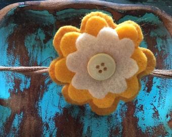 Felt flower headband on nylon(fits small)