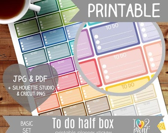 To Do Half Box Printable Planner Stickers, Erin Condren Planner Stickers, To Do Planner Stickers, Half Box Printable Stickers - CUT FILES