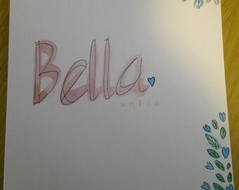 Bella hand-painted name card new baby