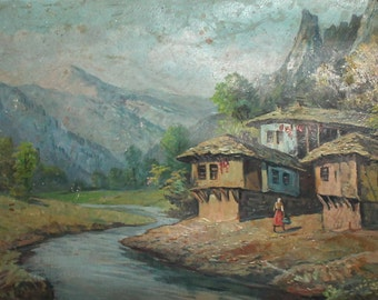 Antique Impressionist landscape mountain village river oil painting