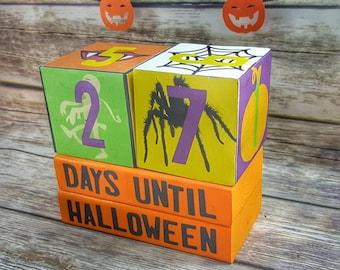 Halloween Countdown - Halloween Decor - Wooden Block Decor - Halloween Party - Days Till Halloween - Holiday Countdown - Halloween