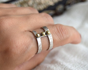 3 point cage ring, mix metal jewelry, silver and gold ring,FREE SHIPPING