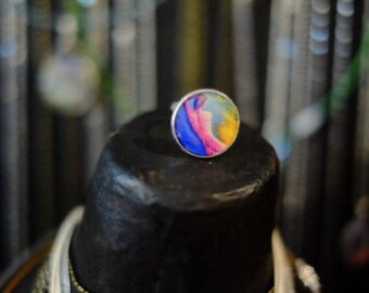Ring round dream fantasy adjustable, silver, diameter image: 2 cm