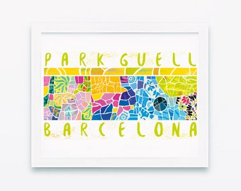 Barcelona poster, Park Guell, City poster, Travel poster