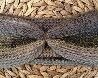 Crocheted Headband Earwarmer in Olive Medley Color