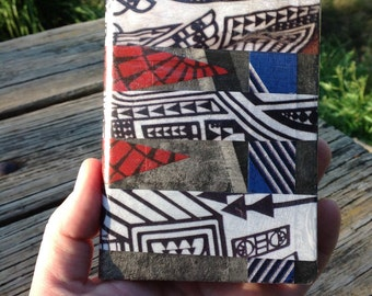 """Original A6 notebook. Analog collage """"Stripes"""". Hand cut collage notebook hardcover"""