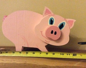 Wood piggy bank, piggy bank, money pig, children's,pink