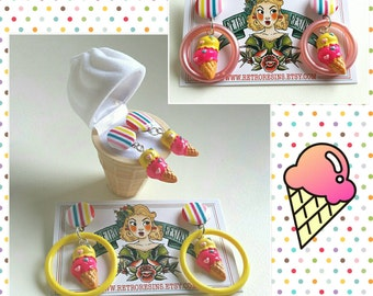 Two Scoops ice cream earrings // Novelty earrings