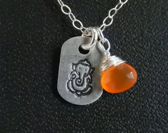 SOLD3/20/17 (Karen) Hand Stamped Sterling Silver Ganesh Charm Necklace with a gemstone