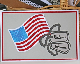 Personalized Patriotic American Flag Card with Dog Tags that say Welcome Home, Thank You or Miss You