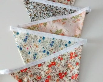 Flower Print Fabric Bunting, Fabric Garland, Pretty Ditsy Bunting, Garden and Home Bunting