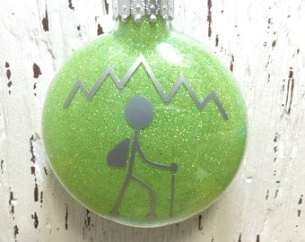 Personalized Hiking Ornament || Live to Hike || Male or Female Hiker || Christmas Ornament