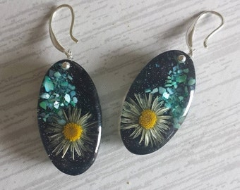 resin earrings with real flowers