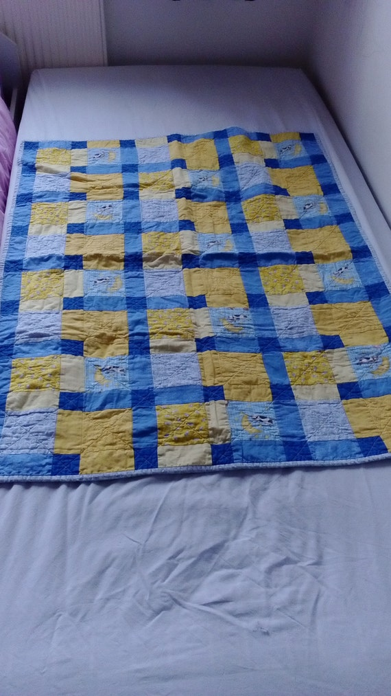 Cot bed sized patchwork blanket. Unisex. Nursery rhyme.