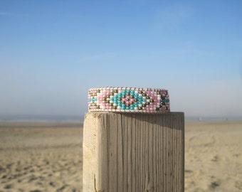 Bohemian style-Boho Chic-Trendy woven beaded bracelet pink turquoise bronze