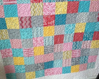 Square  patch girls quilt, baby quilt, todler bedding, lap throw