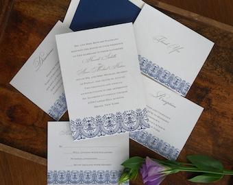 Victoria Wedding Invitation Set - Elegant Wedding Invite - Classic Wedding Invite - Traditional Wedding Invitation Suite - AG28