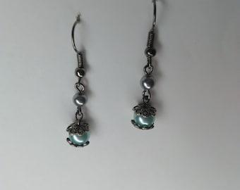 Victorian style mint green pearl earrings