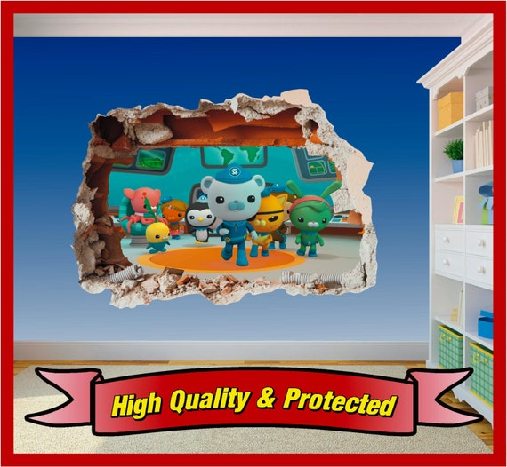 octonauts hole in wall art stickers decal childrens bedroom the arrival of octonauts wall decal