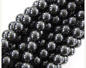 """10% SALE 12mm hematite round beads 16"""" strand 19644"""