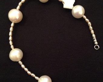 Sterling silver & cultured pearl bracelet
