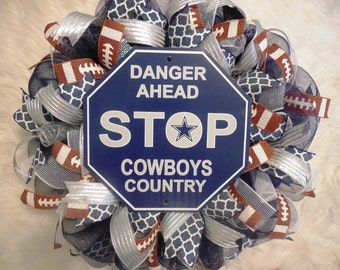 Cowboys Wreath, Dallas Cowboys Wreath, Cowboys Decor, Dallas Cowboys Decor, Dallas Cowbowys, NFL Wreath, Football Wreath, Cowboys Wreath