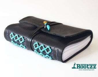 leather journal with turquoise gemstones - travelers notebook - journal - notebook
