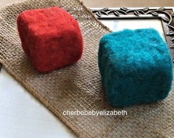 Eco friendly, toy,  Handmade,  blocks, red, blue, nursery decor, needle felted, baby toy