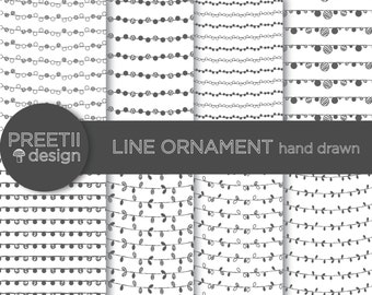 Line Ornament Hand Drawn Pattern - Digital Pattern, Instant Download, Hand Drawn Pattern Background